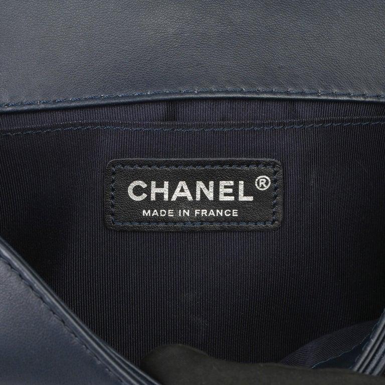2014 Chanel Blue Quilted Lambkin & Denim Multi-Tweed Enchained Medium Le Boy 4