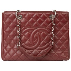 2014 Chanel Burgundy Quilted Caviar Leather Grand Shopping Tote GST