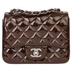 2014 Chanel Chocolate Brown Quilted Patent Leather Mini Flap Bag