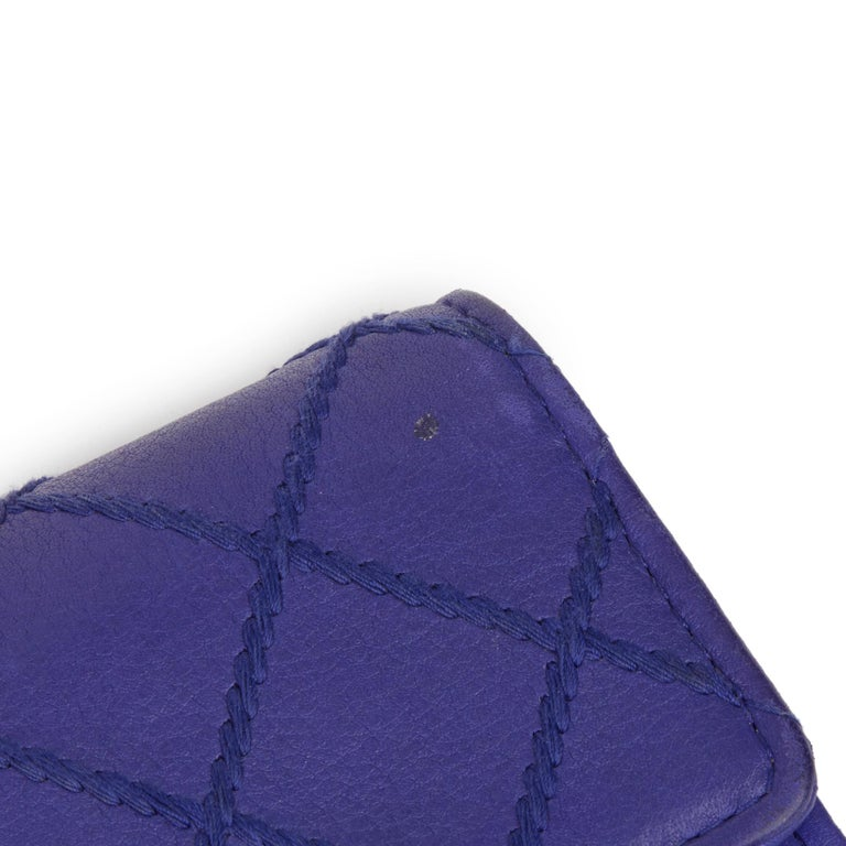 2014 Chanel Electric Blue Quilted Lambskin Wallet  For Sale 8