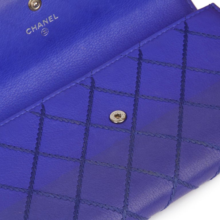 2014 Chanel Electric Blue Quilted Lambskin Wallet  For Sale 9