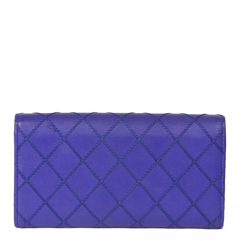 Women's 2014 Chanel Electric Blue Quilted Lambskin Wallet  For Sale