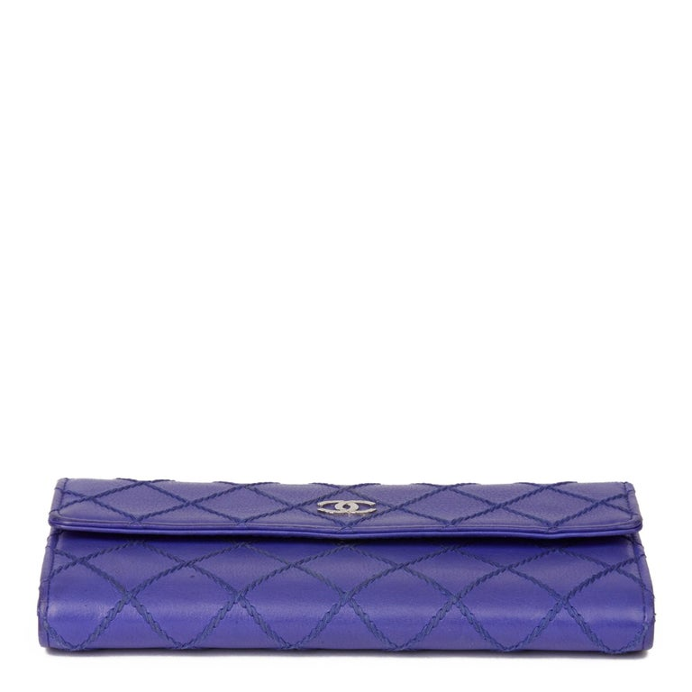 2014 Chanel Electric Blue Quilted Lambskin Wallet  For Sale 1