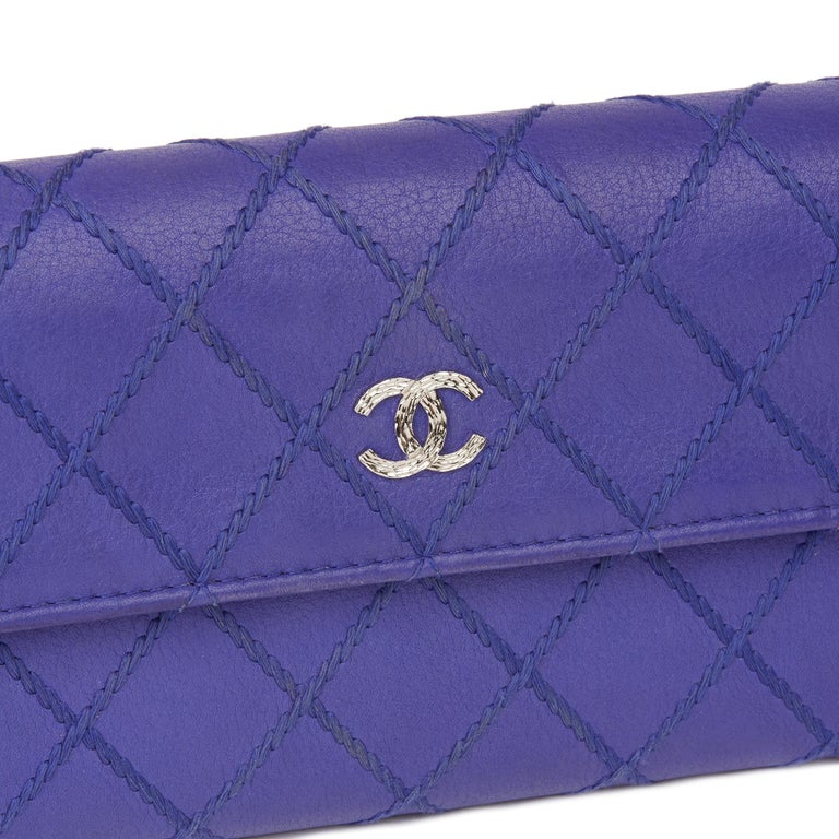 2014 Chanel Electric Blue Quilted Lambskin Wallet  For Sale 2
