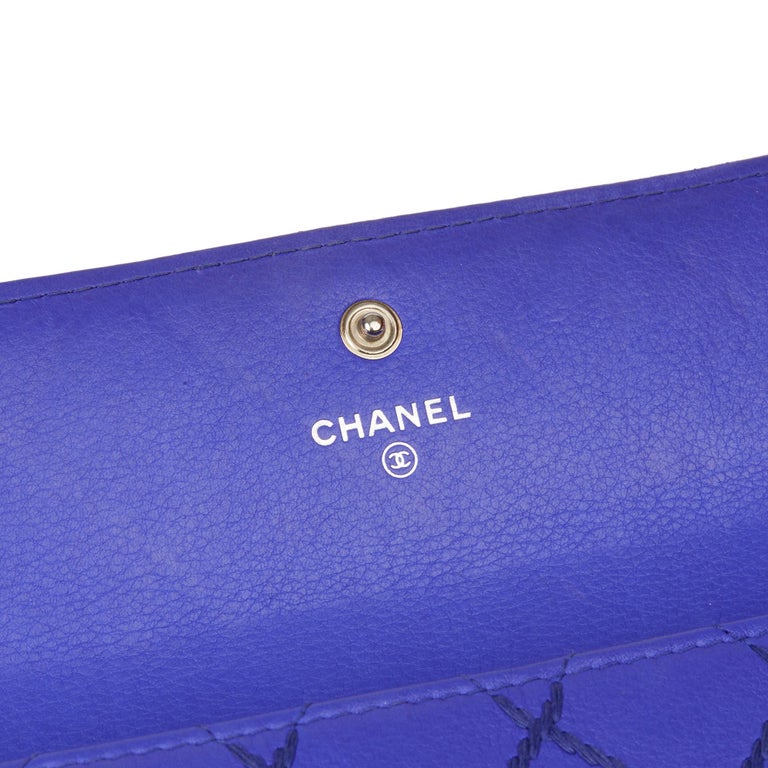 2014 Chanel Electric Blue Quilted Lambskin Wallet  For Sale 3