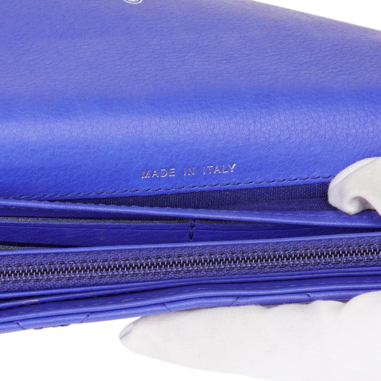 2014 Chanel Electric Blue Quilted Lambskin Wallet  For Sale 4