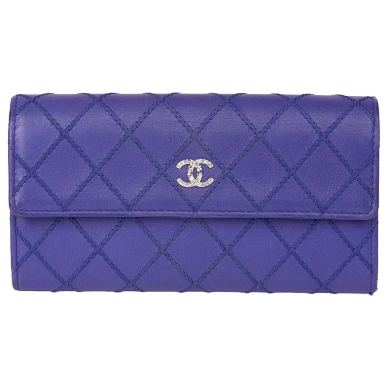 2014 Chanel Electric Blue Quilted Lambskin Wallet  For Sale