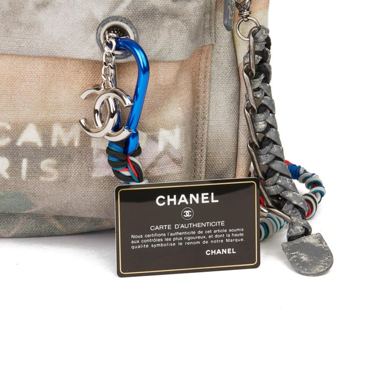 2014 Chanel Grey Painted Canvas Medium Graffiti Backpack 7
