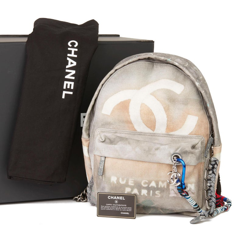 2014 Chanel Grey Painted Canvas Medium Graffiti Backpack 8