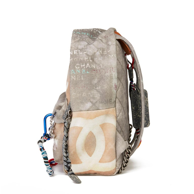 Beige 2014 Chanel Grey Painted Canvas Medium Graffiti Backpack