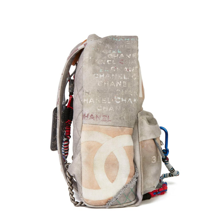 2014 Chanel Grey Painted Canvas Medium Graffiti Backpack In Excellent Condition In Bishop's Stortford, Hertfordshire
