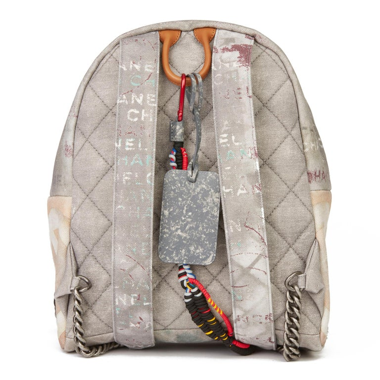 Women's 2014 Chanel Grey Painted Canvas Medium Graffiti Backpack