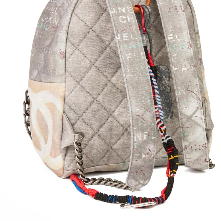 2014 Chanel Grey Painted Canvas Medium Graffiti Backpack 3