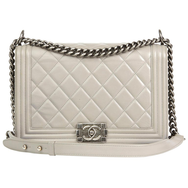 b47a665a6958 2014 Chanel Grey Quilted Lambskin New Medium Le Boy at 1stdibs