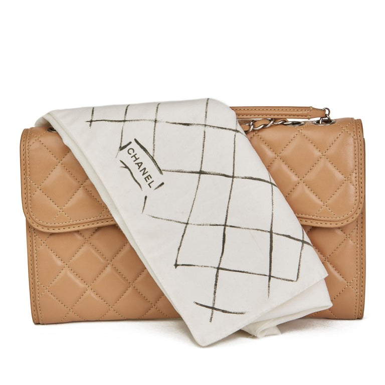 2014 Chanel Mocha Quilted Lambskin Classic Single Flap Bag For Sale 6
