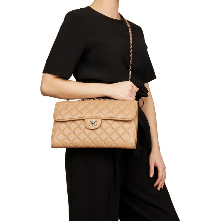 2014 Chanel Mocha Quilted Lambskin Classic Single Flap Bag For Sale 7