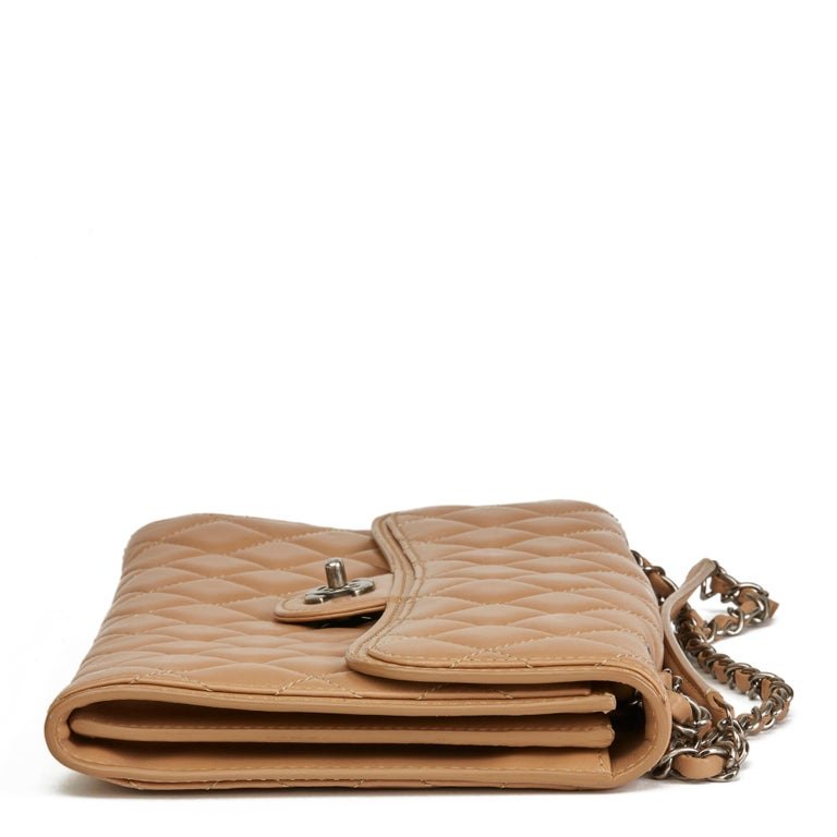 Brown 2014 Chanel Mocha Quilted Lambskin Classic Single Flap Bag For Sale