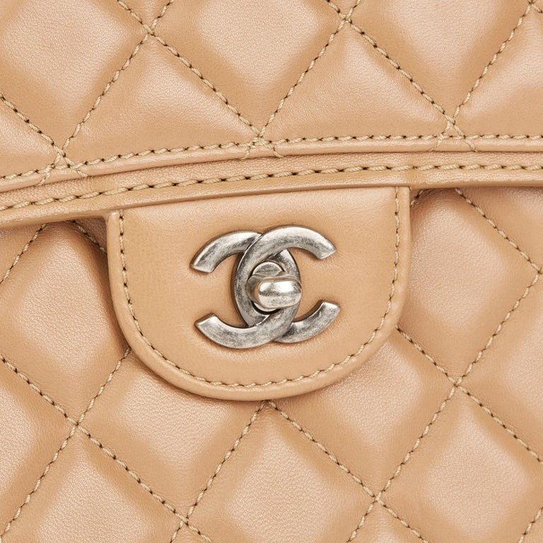 2014 Chanel Mocha Quilted Lambskin Classic Single Flap Bag For Sale 1