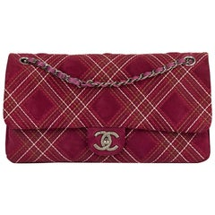 2014 Chanel Purple Heavy-Stitch Quilted Velvet Classic Single Flap Bag