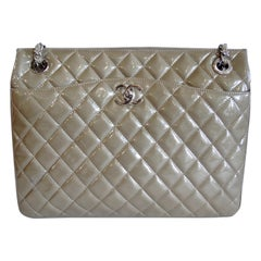 2014 Chanel Quilted Taupe Patent Leather Shoulder Bag