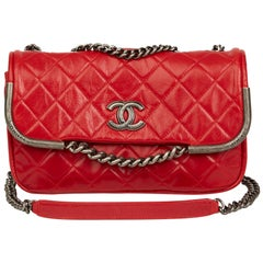 2014 Chanel Red Quilted Aged Calfskin Leather Single Flap Bag