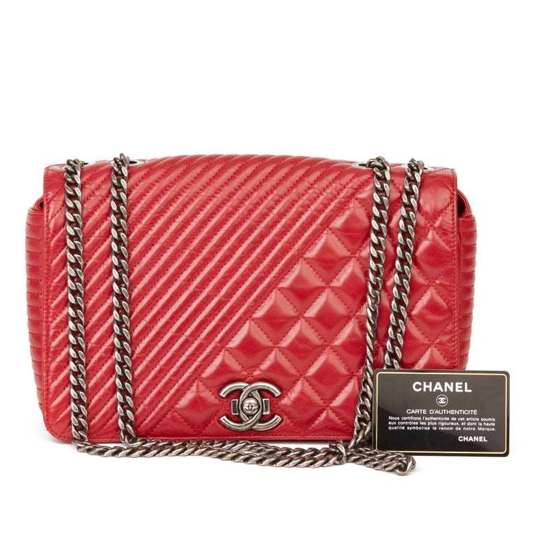 2014 Chanel Red Quilted Glazed Calfskin Leather Medium Coco Boy Flap Bag  For Sale 8