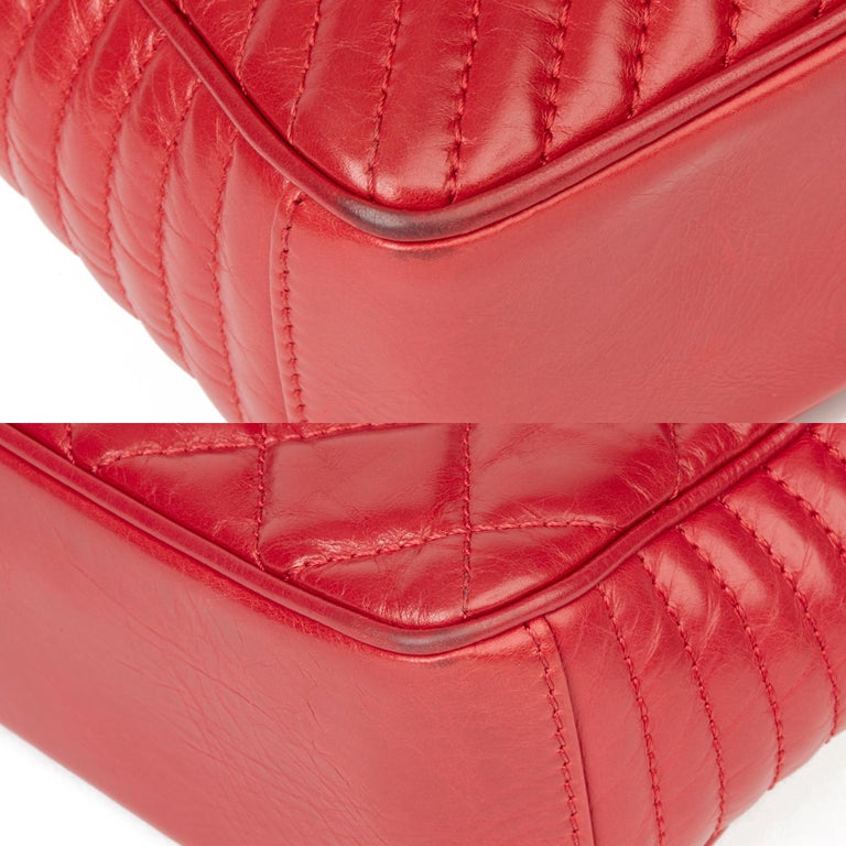 2014 Chanel Red Quilted Glazed Calfskin Leather Medium Coco Boy Flap Bag  For Sale 9