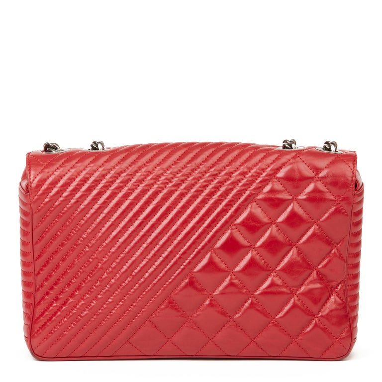 2014 Chanel Red Quilted Glazed Calfskin Leather Medium Coco Boy Flap Bag  For Sale 1