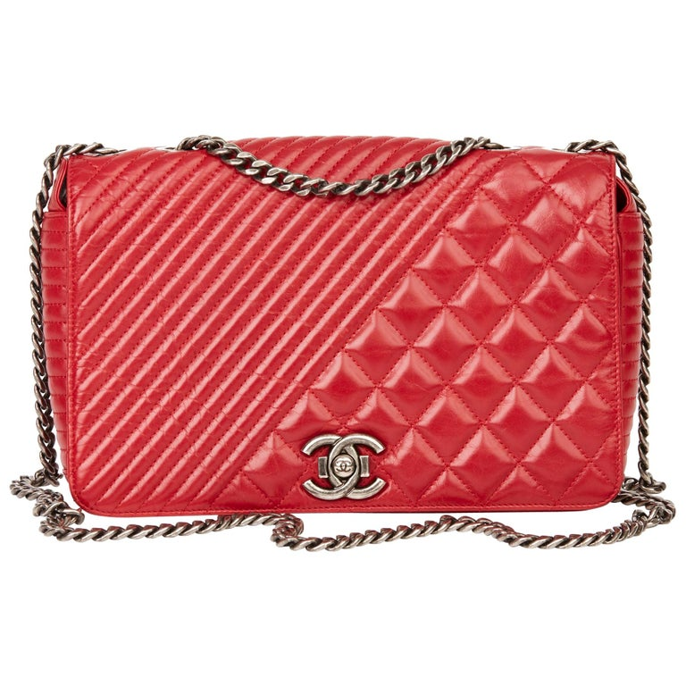 2014 Chanel Red Quilted Glazed Calfskin Leather Medium Coco Boy Flap Bag  For Sale