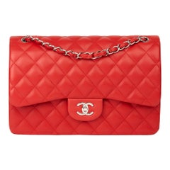 2014 Chanel Red Quilted Lambskin Jumbo Classic Double Flap Bag