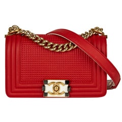2014 Chanel Red & White Lambskin Cube Small Le Boy