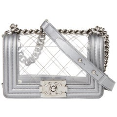 2014 Chanel Silver Metallic Calfskin Leather & Transparent PVC Naked Small Boy