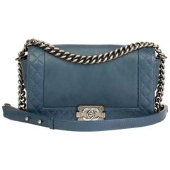 2014 Chanel Teal Quilted Calfskin Leather Medium Le Boy Reverso