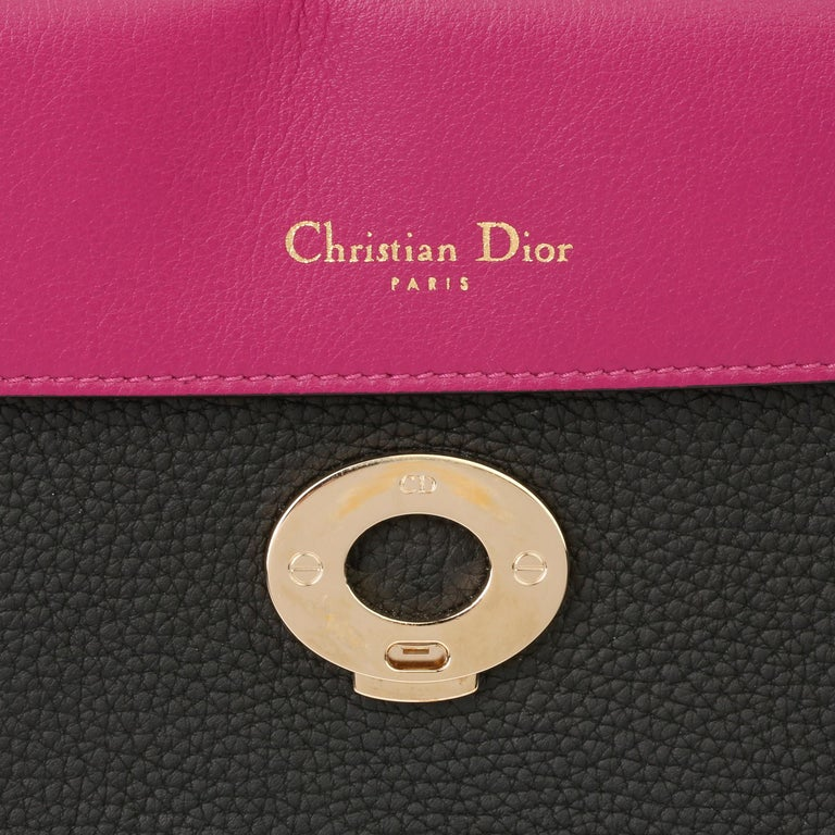 2014 Christian Dior Black Grained Calfskin Leather Be Dior with Wallet-on-Chain For Sale 6