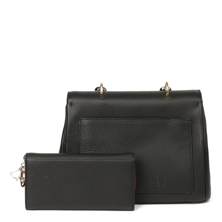 2014 Christian Dior Black Grained Calfskin Leather Be Dior with Wallet-on-Chain For Sale 1