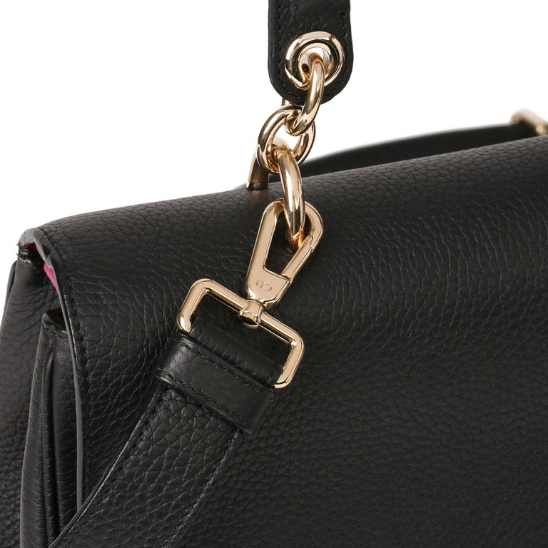 2014 Christian Dior Black Grained Calfskin Leather Be Dior with Wallet-on-Chain For Sale 3