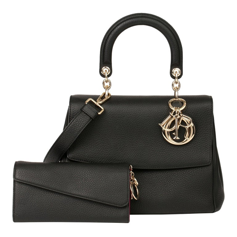2014 Christian Dior Black Grained Calfskin Leather Be Dior with Wallet-on-Chain For Sale