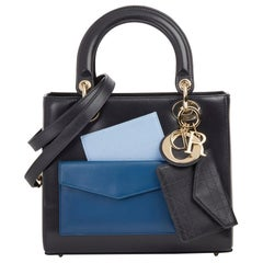 2014 Christian Dior Navy Smooth Calfskin Leather Pocket Detail Medium Lady Dior