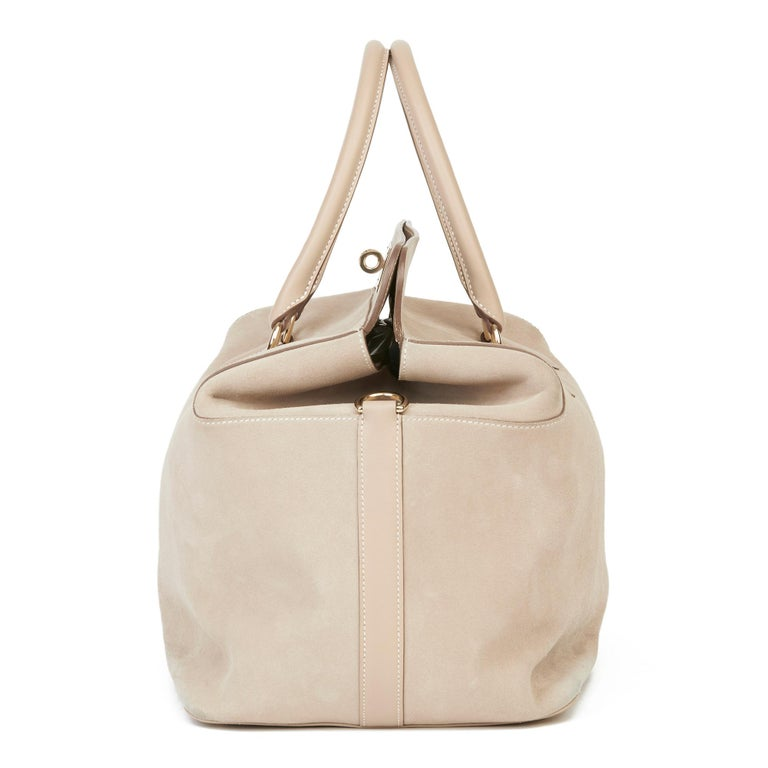 Women's 2014 Hermès Argile Swift Leather & Veau Grizzly Suede Toolbox 33  For Sale
