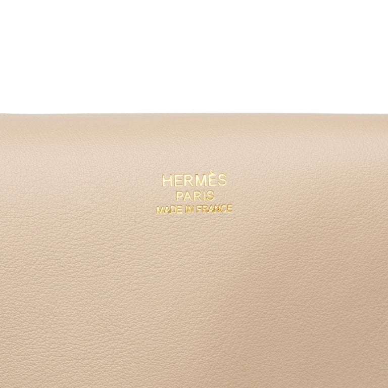 2014 Hermès Argile Swift Leather & Veau Grizzly Suede Toolbox 33  For Sale 5