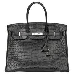 2014 Hermès Black Matte Mississippiensis Alligator, Clemence & Box Calf Leather