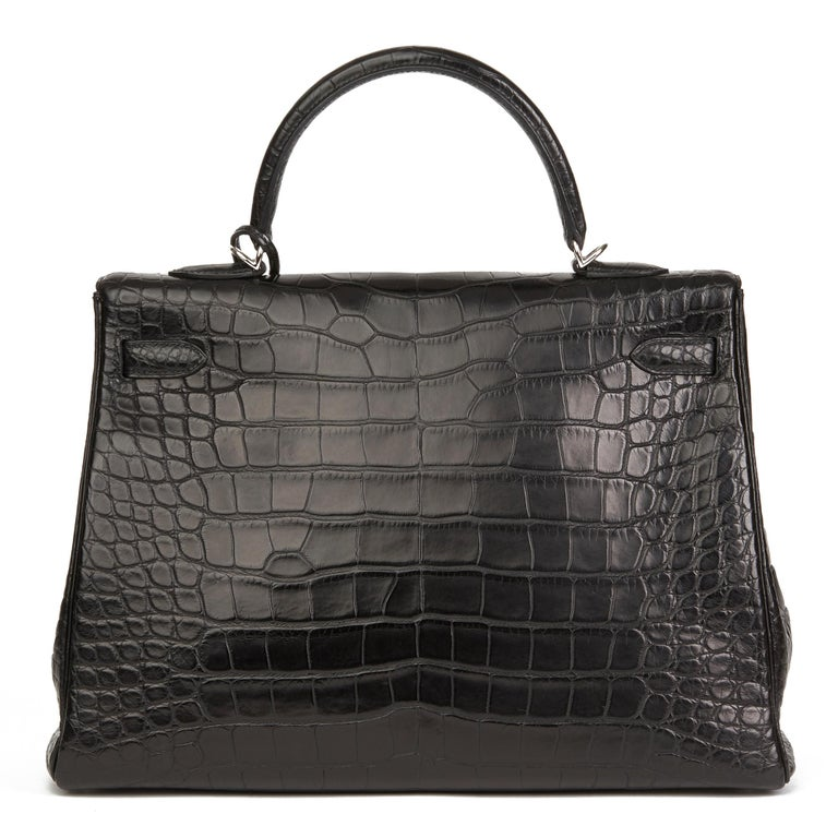 2014 Hermes Black Matte Mississippiensis Alligator Leather Kelly 35cm Retourne For Sale 1