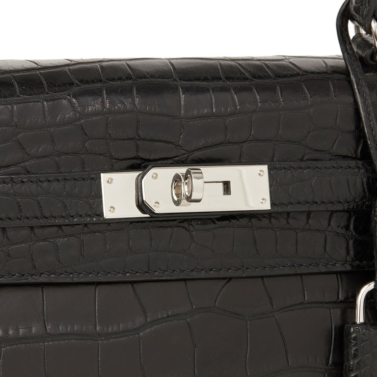 2014 Hermes Black Matte Mississippiensis Alligator Leather Kelly 35cm Retourne For Sale 3