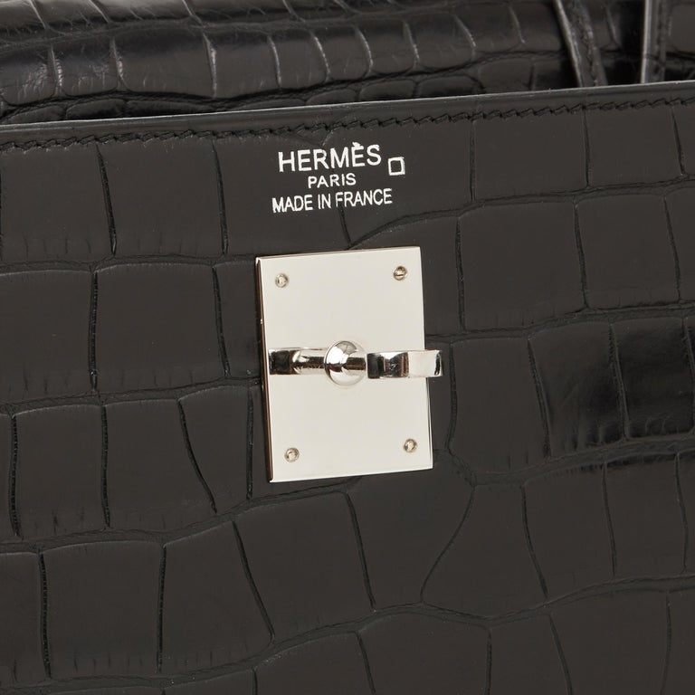 2014 Hermes Black Matte Mississippiensis Alligator Leather Kelly 35cm Retourne For Sale 4
