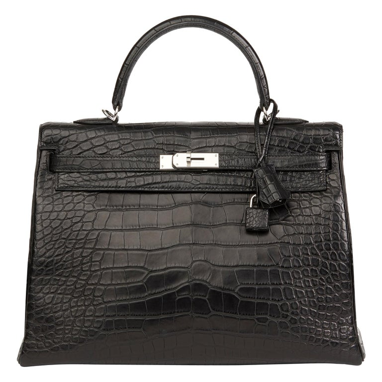 2014 Hermes Black Matte Mississippiensis Alligator Leather Kelly 35cm Retourne For Sale