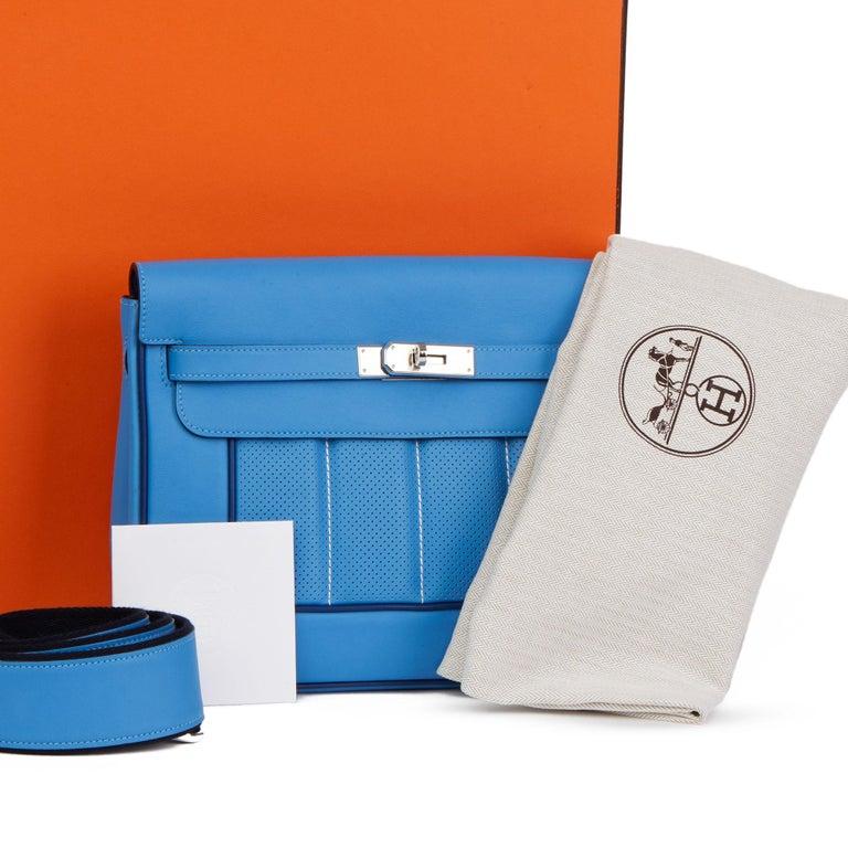 2014 Hermès Blue Paradis & Blue Saphir Perforated Swift Leather Berlin 28cm  For Sale 8