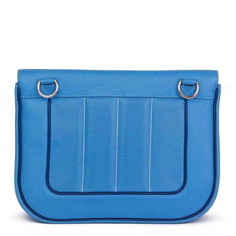 2014 Hermès Blue Paradis & Blue Saphir Perforated Swift Leather Berlin 28cm  For Sale 1