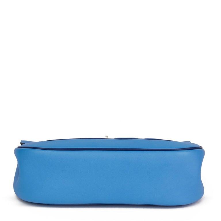 2014 Hermès Blue Paradis & Blue Saphir Perforated Swift Leather Berlin 28cm  For Sale 2