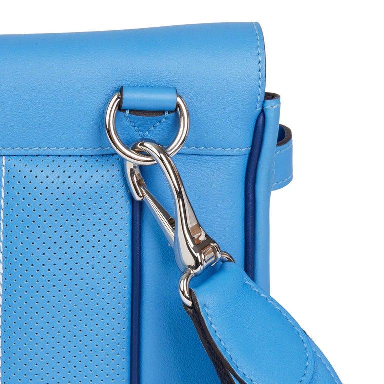 2014 Hermès Blue Paradis & Blue Saphir Perforated Swift Leather Berlin 28cm  For Sale 4