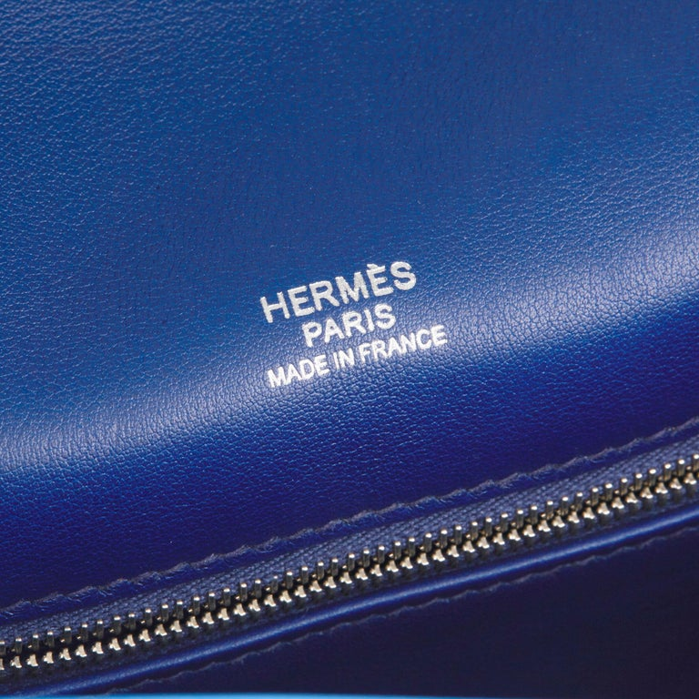 2014 Hermès Blue Paradis & Blue Saphir Perforated Swift Leather Berlin 28cm  For Sale 5